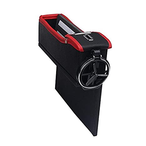 Leather Car Seat Gap Catcher with Coin Organizer and Cup Holder niceEshop Console Side Pocket Left Black and Red 1Pcs TM