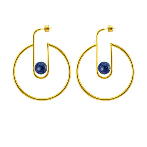 14k Natural Stone Earrings (LANE WOODS 925 Sterling Silver Post 14k Gold Plated Open Cuff Hoop Earrings Natural Gemstone Pearl Hooped Stud Post Minimalist Earrings Gifts for Women Ladies Girls (Big C Shape Gold & Lapis Lazuli))