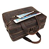 Augus Business Travel Briefcase Genuine Leather Duffel Bags for Men Laptop Bag fits 15.6 inches Laptop (Coffee)