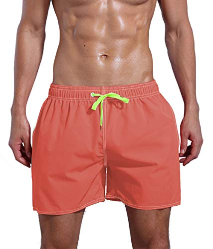 QRANSS Men's Quick Dry Swim Trunks Bathing Suit Swim Shorts Pink (Coral-red, Small / 30-32 Waist) ()