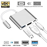 Ocamo USB Type C Hub HDMI 4K Adapter USB-C to Converter with 3.0 USB and 3.1 Charging Port for Retina MacBook Silver