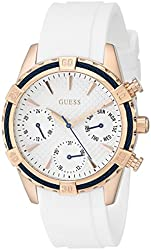GUESS Women's U0562L1 Comfortable White Silicone Multi-Function Watch with Day, Date & 24 Hour Int'l Time