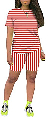 TOPONSKY Womens 2 Piece Sports Outfit Tracksuit Shirt Shorts Jogger Bodycon Sets