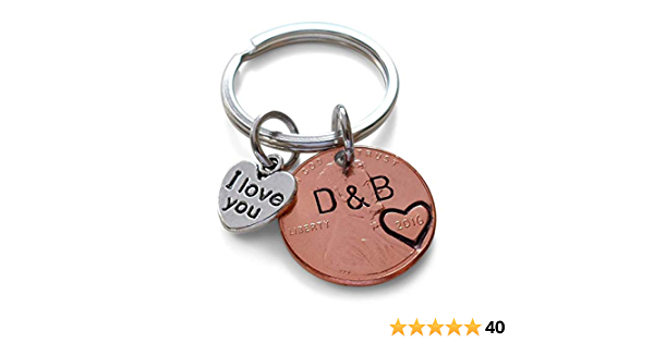 Guitar Keychain Penny Keychain Together We Rock Anniversary Key Chain Stamped Penny Couple Gift Anniversary Gift for Her Gift For Him