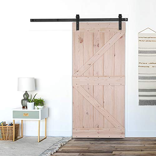 (Bonnlo 36in x 84in Unfinished Knotty Pine Sliding Barn Door with Pre-Hollowed Floor Guide,Pre-Drilled Ready to Assemble and Paint/Stain (Not Include Hardware) (Arrow))
