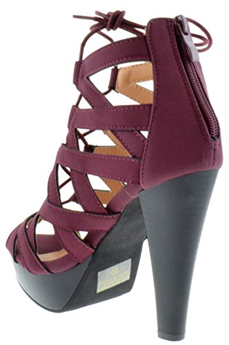 Table Lace Moda Top Wine Strappy Toe Heel 8 Pumps High up Peep HB57wq