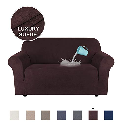 H.VERSAILTEX Sofa Slipcovers Stretch Furniture Cover Suede Plush Fabric Super Soft, Stretching Skid Resistant Water Repellent Velvet Plush Sofa Protector - Loveseat (2 Seater) - Chocolate