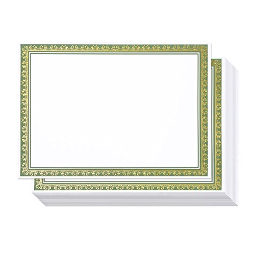 - 50 Pack Award Certificate Paper - Embellished Green & Gold Foil Border Blank Certificate Computer Paper for Recognition, Graduation Diploma, Schools, Employees - 8.5 x 11 Inches - 50 Count