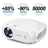 "Video Projector, [Upgraded] Crenova Mini Home Projector 1080P Supported, 3200 Lux Portable Movie Projector with 50,000 Hrs LED, 200"" Display, Work with PC, Fire Stick, HDMI, PS4, VGA, TF, DVD, AV, USB"