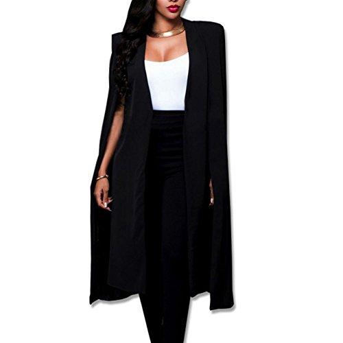 Shinieny Women's Solid Color Open Front Side Slit Midi Cape Cloak Suit Coat