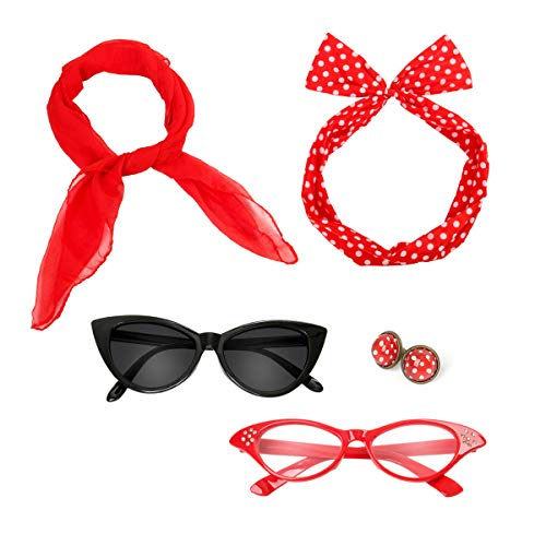 Retro 50's Costume Accessories Set Polka Dot Chiffon Scarf Cat Eye Glasses Bandana Tie Headband & Earrings for Girls Women Ladies Dress Up (Red)