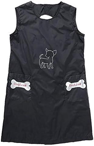 Hisayoki ペットグルーマーオーバーオールノースリーブエプロン ペット美容 防水服 ポケット付き ペットグルーミングエプロン 防水 ペット 美容師エプロン スモック ナイロン製 トリミング用 犬 猫 水浴び 身体 完全に保護 快適 通気性