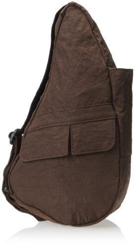 (AmeriBag X-Small Distressed Nylon Healthy Back Bag Tote, Brown)