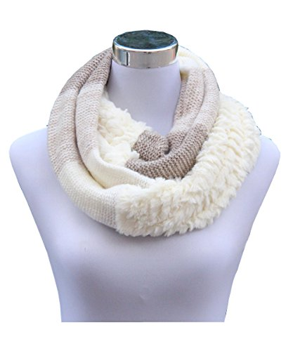 Lucky Leaf Women Knitted Wool Joint Soft Faux Fur Infinity Scarf Loop Scarves (1-White) (Wool White Scarf)