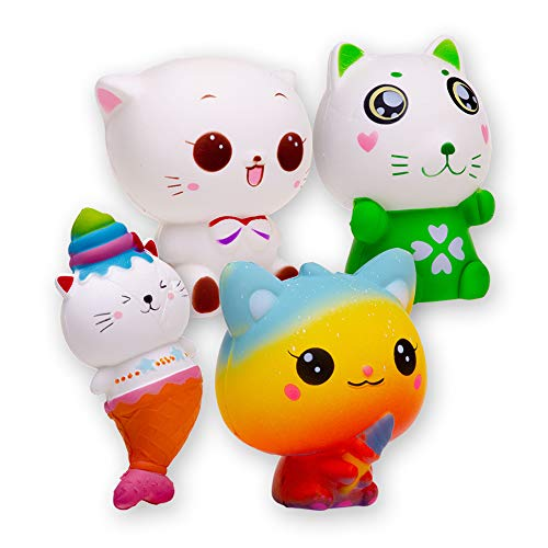 FORTON Kawaii Slow Rising Squishies Cat Squishy Stress Toys Pack of 4 ()