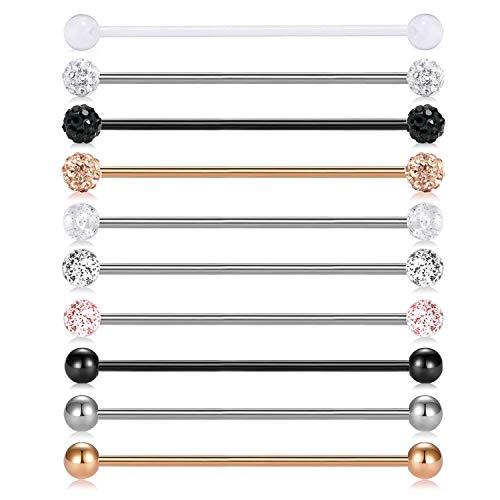 MODRSA 10pcs 14G Stainless Steel Industrial Barbell Earring Cartilage Body Piercing Jewelry 38mm Industrial Piercing Bar