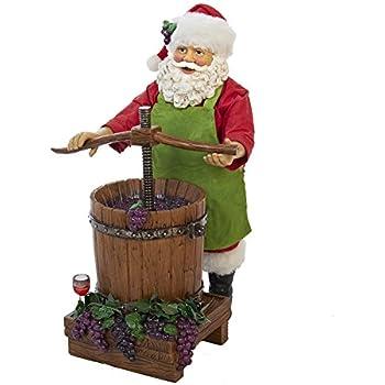 Kurt Adler Fabriche' Wine Santa, 10-Inch, Set of 2