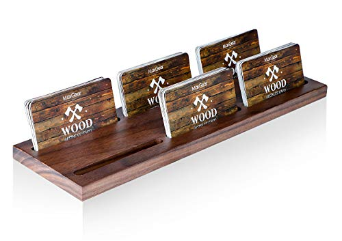 Multiple Holder - MaxGear Wood Business Card Holder for Desk Multiple Business Card Display Holders Professional Business Card Stand Horizontal Business Cards Holder Display for Desktop Business Cards Holder, Walnut