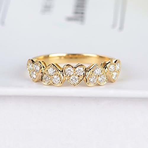 Amazon.com: Diamond wedding band women heart shaped gold