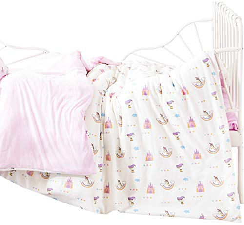 J-pinno Girls Castle Unicorn Cartoon Jersey Knitted Duvet Cover, 100% Cotton, Invisible Zipper, for Kids Crib Bedding Decoration Gift (Grils Pink, Crib 47