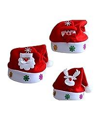 3 Pack Christmas Theme Hats for Kids, Elf/Santa/Snowman Velvet Hat