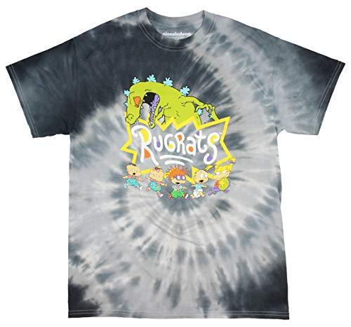 Nickelodeon Rugrats Shirt Reptar and Characters 90s Cartoon Logo Tie Dye T-Shirt (X-Large)
