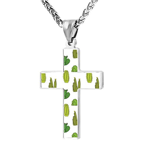 Gjghsj2 Cross Necklace Pendant Religious Jewelry Green Cactus For Men Wome -