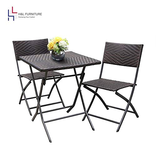 HL Patio Resin Rattan Steel Folding Bistro Set, Parma Style, All Weather Resistant Resin Wicker, 5 PCS/3PCS Set of Foldable Table and Chairs, Color Espresso Brown, 3-Year Warranty, No Assembly Needed (Cheap And Table Bistro Chairs)