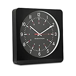 Marathon CL030057BK-BK1 Silent Non-Ticking Wall Clock with Warm Amber Auto Back Light. Easy to Read Classic Dial with 12 and 24-Hour Scale. Batteries Included. Color-Black Case/Black Dial.