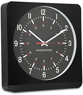 Marathon Silent Non-Ticking Analog Wall Clock with Warm Amber Auto Back Light. Easy to Read Classic Dial with 12 and 24-Hour Scale – Batteries Included – CL030057BK-BK1 Black Case Black Dial