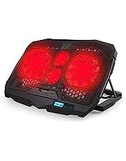 مروحة تبريد لاب توب من أريامون باضاءة LED حمراء، 4 مراوح تبريد هادئة للاب توب، منفذين USB، وسادة تبريد هواء للمكتب مع شاشة عرض LCD، حامل تبريد للاب توب من 10 إلى 15.6بوصة