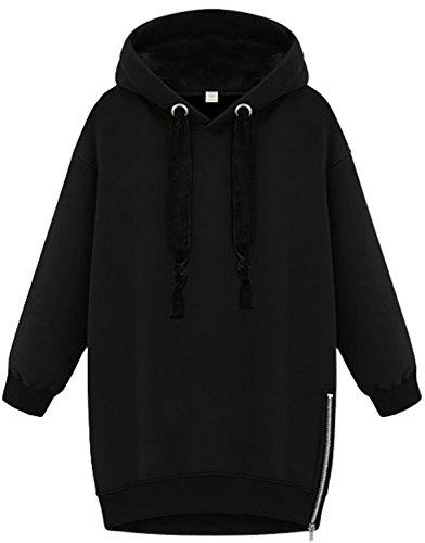 Inverno Felpe Hoodied Top Cappotti Autunno Lunga Donne Sweatshirts Moda Nero Con Cappuccio Manica Giacche qIAzHw5zB