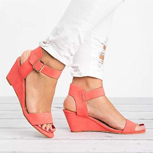 6 Rouge Boucle Mode Pastèque Chaussures Plateforme Casual Élégant Compensée Uomogo Pu Femmes Chaussures Sandales Sandales Rétro D'été Romani qZTtRxg