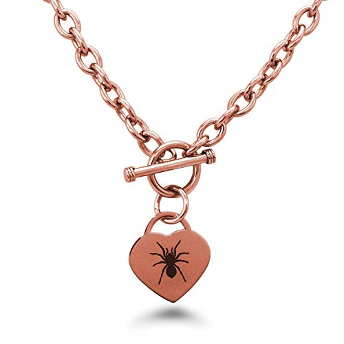 Rose Gold Plated Stainless Steel Tarantula Spider Heart Charm Toggle, Necklace Only ()