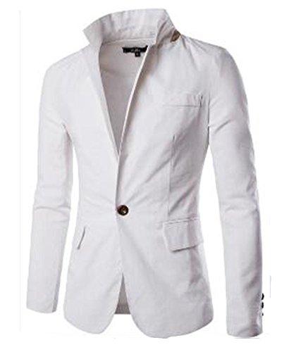 Slim Homme Blazer Fit Bouton Elégant Un Mariage Veste Business Blanc 0tYtxB