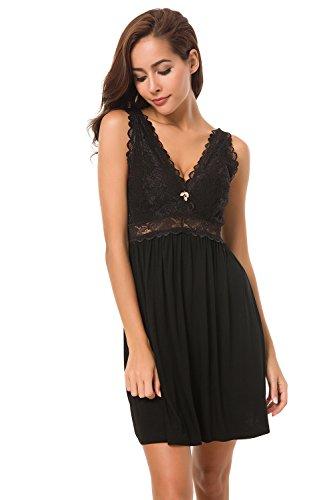 Alcea Rosea Chemise Sleepwear Nightgown Sleeveless Lace Cup Trim Knit Dress for Women (Black, XL Short)