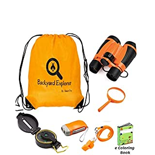 Kids Binoculars Explorer Kit for Children - Toy Set With Magnifying Glass, Flashlight, Backpack , Whistle, Compass in backpack - Outdoor Exploration Kits, Camping & Spy Gear - Gadgets for Boys Girl