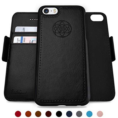 Dreem Fibonacci 2-in-1 Wallet-Case for iPhone 5 & SE, Magnetic Detachable Shock-Proof TPU Slim-Case, RFID Protection, 2-Way Stand, Luxury Vegan Leather, Gift-Box - Black