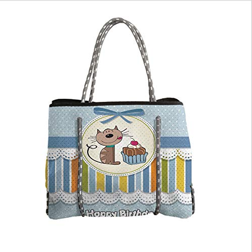 iPrint Neoprene Multipurpose Beach Bag Tote Bags,Birthday Decorations for Kids,Present Wrap Like Image Chocolate Cake Cat Party,Baby Blue and White,Women Casual Handbag Tote Bags