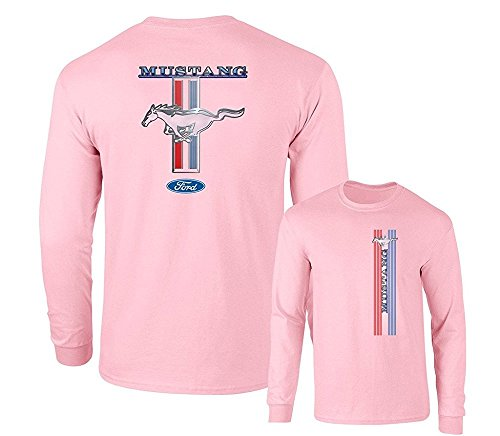 Ford Mustang Pony Racing Stripe 5.0 Muscle Shelby Long Sleeve T-Shirt Front Back Print-Pink-XX-Large