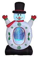 4 Foot Christmas Inflatable Snowman Snowflake Snow Globe Yard Decoration