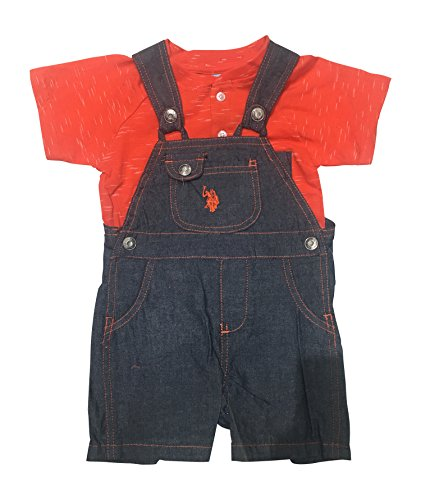 U.S. Polo Assn. Baby Boys T-Shirt and Short Set, Orange Tee Chambray Coverall Multi Plaid, 24M