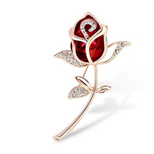 Heyuni. Crystal Rose Flower Shape Shining Brooches and Pins Bridal for Women Lady