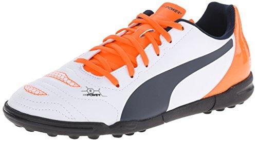 PUMA Evopower 4.2 Turf JR Soccer Shoe (Infant/Toddler/Little Kid/Big Kid) , White/Total Eclipse/Lava Blast, 2.5 M US Little Kid - Kid Eclipse Boy Shoe