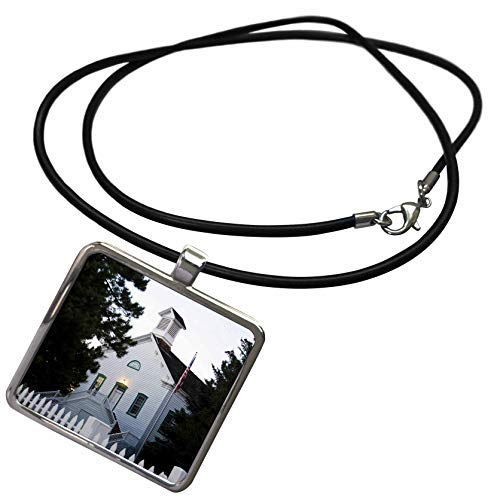 3dRose Jos Fauxtographee- Evening Pine Valley Chapel - The Historical Pine Valley Chapel in The Evening with Lights in - Necklace with Rectangle Pendant (ncl_298332_1) ()