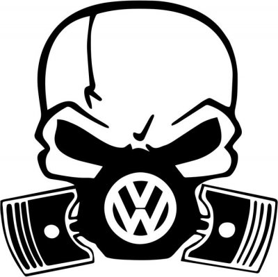 VW Skull Piston Gas Mask Vinyl Decal Sticker|Cars Trucks Vans Walls Laptops Cups|Black|5.5 In|KCD827