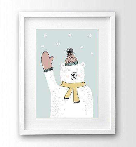 Poster fürs Kinderzimmer ungerahmt, türkis Eisbär Kinderposter Tiere ...