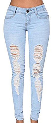 Dellytop Womens Stretch Destroy Distressed