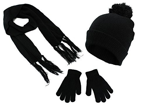 Polar Wear Boys Knit Hat, Scarf And Gloves Set- Black