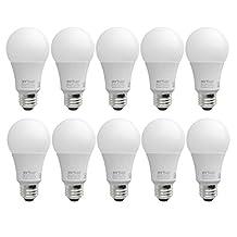 MW LED 9W LED A19 E26 Bulb CUL-Listed Dimmable (60-Watt Equivalent), 800 Lumens, Medium Screw Base, 350° Beam Angle - (10 Packed) (5000K)